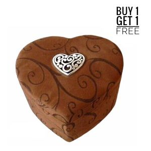 Brighton Brown Suede Heart 3 tier Jewelry Box